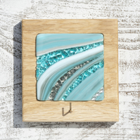 Fused Glass Keyhook in Teal and Grey set in a Handmade Oak Block Frame