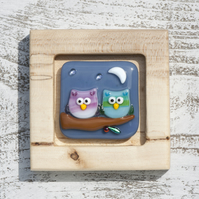 Fused Glass Picture - Two Little Owls under the Moon & Stars