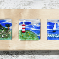 Fused Glass Picture - Triptych of The Moors, The Coast and the Sea