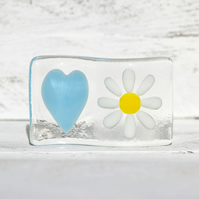 Fused Glass Wave Light catcher with a Heart and Daisy Design