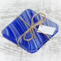 Fused Glass Coasters - Blue and White Art Glass