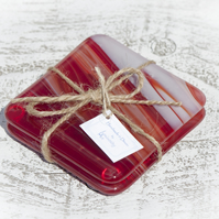 Fused Glass Coasters - Red and White Art Glass