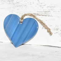 Blue Glass Hanging Heart