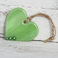 Green Glass Heart with Dichroic Detail