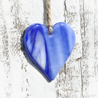 Blue and White Glass Heart
