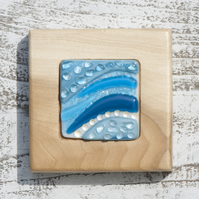 Fused Glass Picture with Bands of Teal and Turquoise