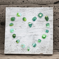 Sea Glass Effect Heart Picture on Reclaimed Wood - Green