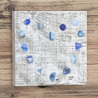 Sea Glass Effect Heart Picture on Reclaimed Wood - Blue & Turquoise
