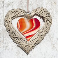 Large Wicker & Glass Hanging Heart - Red & Orange