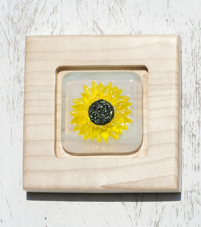 Sunflower - Fused Glass Picture set in a Handmade Oak Block Frame