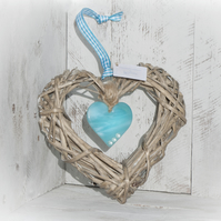 Wicker & Glass Hanging Heart - Turquoise with Silver Detail