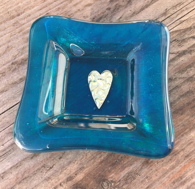 Fused Glass - Teal Trinket Dish or Tea light holder with Brass Heart