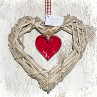 Wicker & Glass Hanging Heart - Red with co-ordinating Ribbon