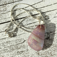 Silver & Glass Necklace in Dusky Pink with Dichroic Detail
