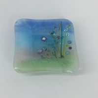 Fused Glass Ring Dish - Pretty Meadow Design