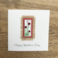Mother's Day Card with Detachable Fused Glass Light Catcher or Book mark