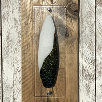Fused Glass 'Yin Yang' design Surfboard on Reclaimed Wood