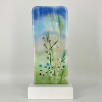 Fused Glass 'Summer Meadow' - with lampwork and dichroic detail