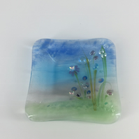 Ring Dish - Fused glass flowers with lampwork and dichroic detail