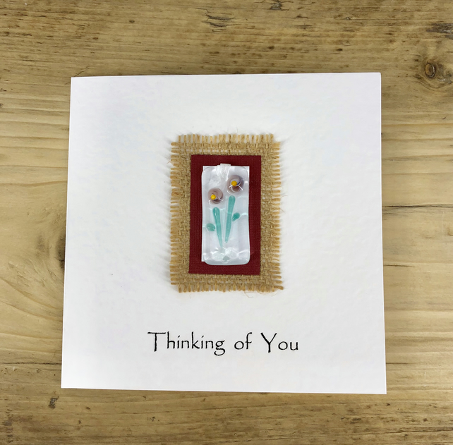 Fused Glass Lightcatcher or Bookmark on a Handmade Card - Thinking of You