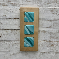 Fused Glass Picture - Soft Teal Art Glass on Sycamore