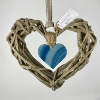 Fused Glass & Wicker Heart - Teal Art Glass with co-ordinating Ribbon