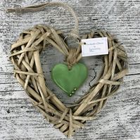 Fused Glass & Wicker Hanging Heart - Green with co-ordinating Ribbon