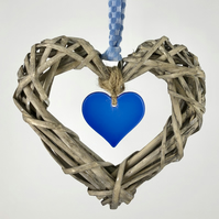 Fused Glass & Wicker Hanging Heart - Blue with co-ordinating Ribbon