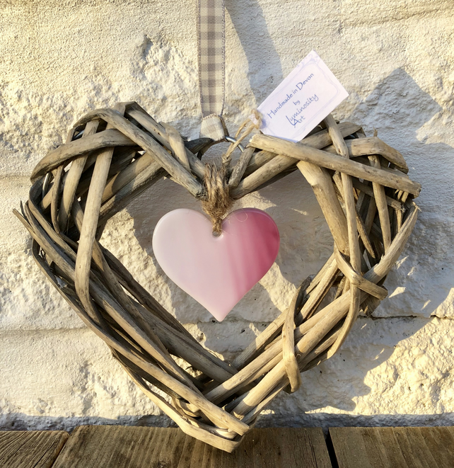 Pink Art Glass & Wicker Hanging Heart hung on a soft grey Ribbon