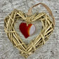 Red Glass & Wicker Hanging Heart - with co-ordinating Ribbon
