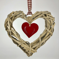 Red Glass & Wicker Hanging Heart on Gingham Ribbon