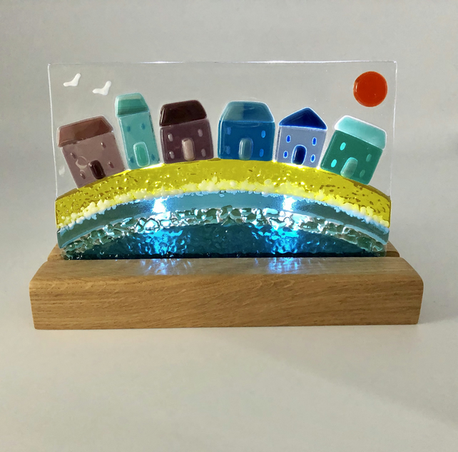 Fused Glass Tea Light - Cottages by the Sea in Handcrafted Oak