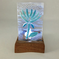 Pretty Turquoise Fused Glass Flower set in a Handcrafted Oak Tea Light Holder