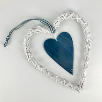 Steel Blue Glass & White Wicker Hanging Heart on Gingham Ribbon