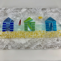 Fused Glass Beach Huts Picture - Mounted on Reclaimed Wood