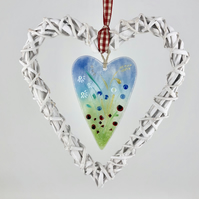 Fused Glass Wild Flowers with White Wicker Hanging Heart on Gingham Ribbon
