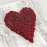 Red Crushed Glass Heart on Reclaimed Wood