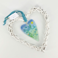 Fused Glass Heart with Turquoise Flowers in Wicker Hanging Heart on Ribbon