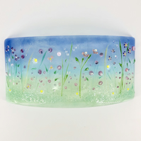 Glass Flower Meadow Panel in Pink and Lilac