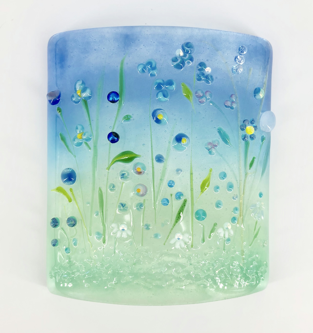Small Glass Flower Meadow Panel in Blue and Turquiose