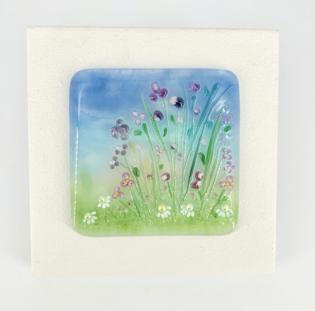 Glass Flower Meadow Picture in Pink & Purple