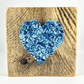 Turquoise Crushed Glass Heart on Reclaimed Wood