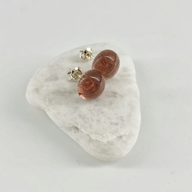 Pink Glass and Silver Stud Earrings