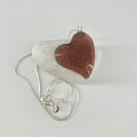 Silver & Pink Glass Heart Necklace