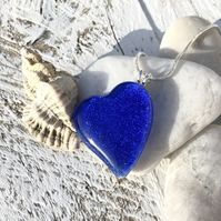 Silver & Blue Glass Heart Necklace