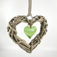Green Glass & Wicker Heart with co-ordinating Ribbon