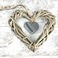 Grey Glass & Wicker Heart with co-ordinating Ribbon