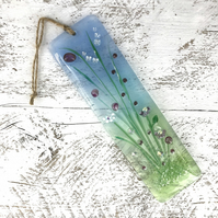 Fused Glass Light Catcher -Pretty Pink Meadow Design
