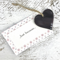Just because... Purple Glass Heart with personal message