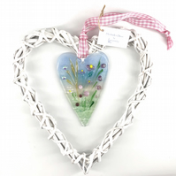 Fused Glass Heart with Delicate Pink Flowers in Wicker Hanging Heart on Ribbon